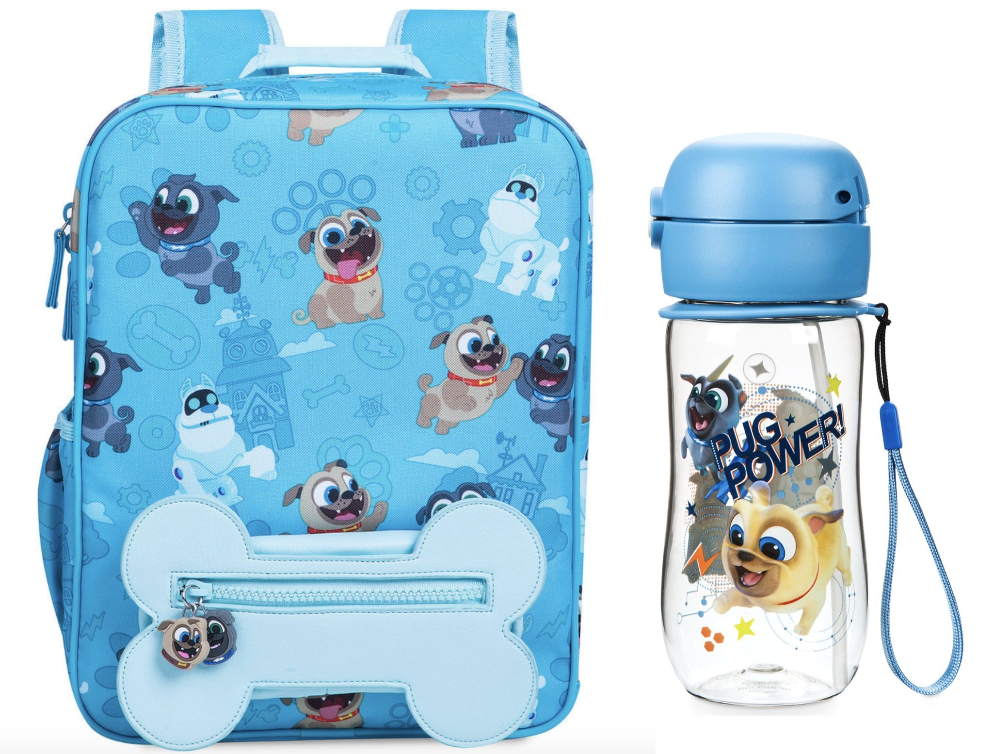 Puppy Dog Pals 12'' Backpack + Matching Flip Top Water Bottle with Built-In Straw