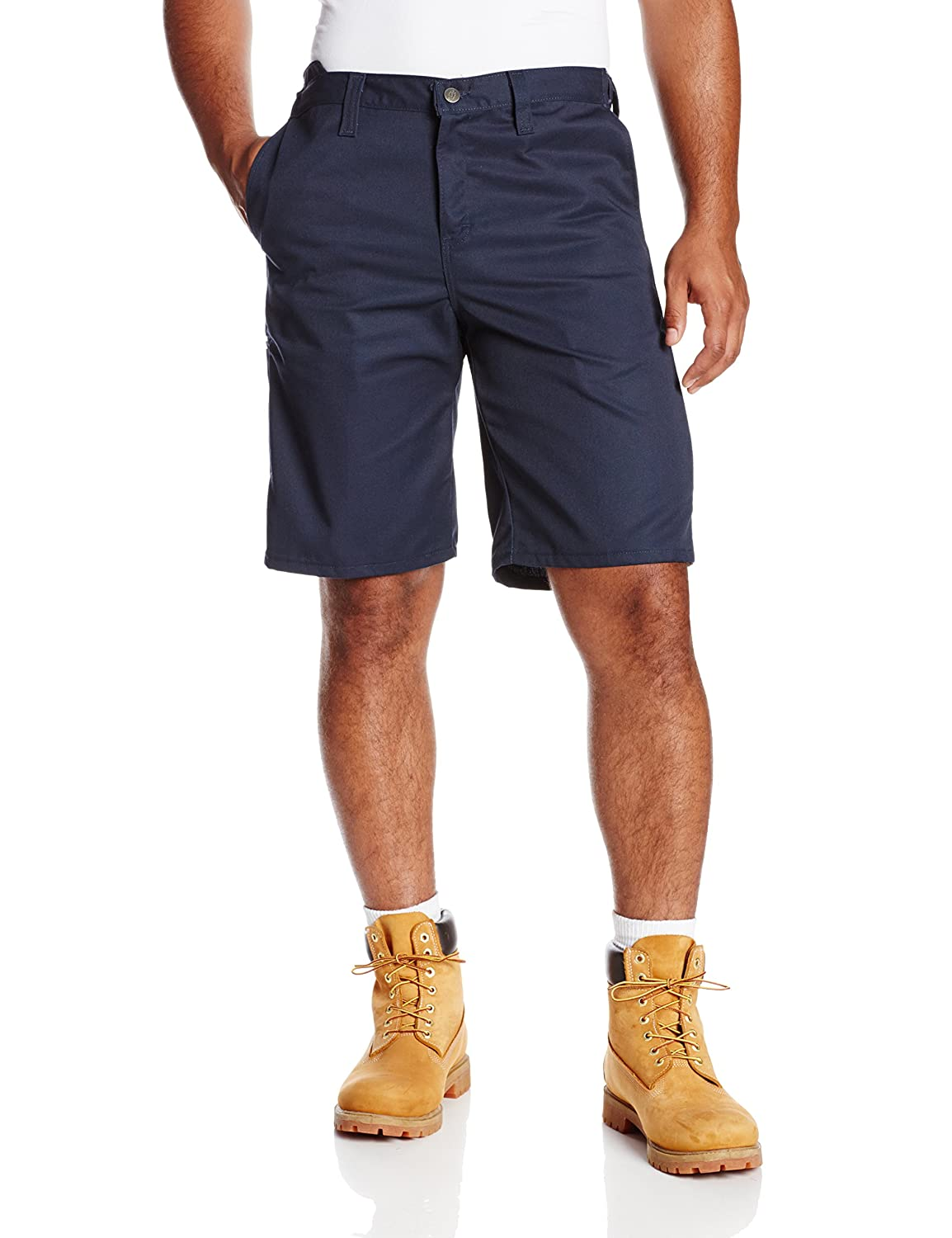 """Dickies Occupational Workwear LR700NV 31 Polyester/ Cotton Relaxed Fit Men's Premium Industrial Comfort Waist Short with Metal Tack Closure, 31"""" Waist Size, 11"""" Inseam, Navy"""