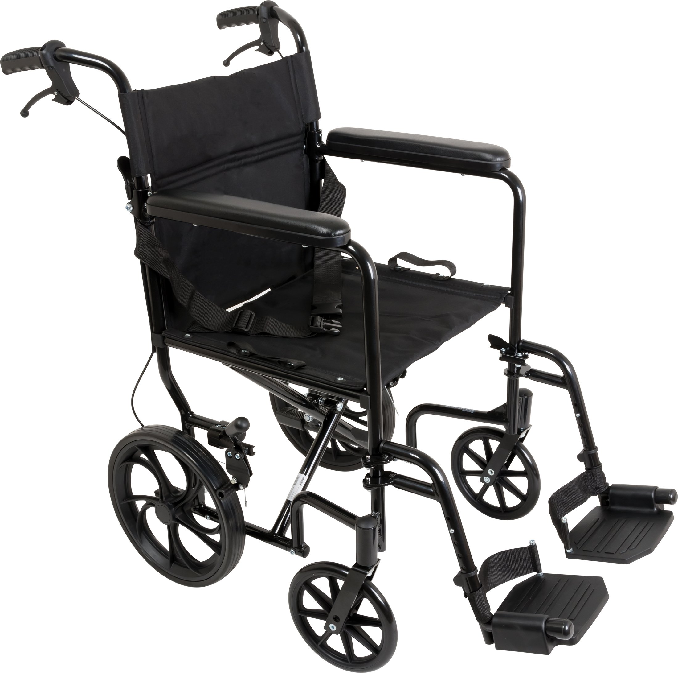 ProBasics Aluminum Transport Wheelchair With 19 Inch Seat - Foldable Wheel Chair For Transporting And Storage - 12-inch Rear Wheels For Smoother Ride, 300 LB Weight Capacity by Roscoe Medical