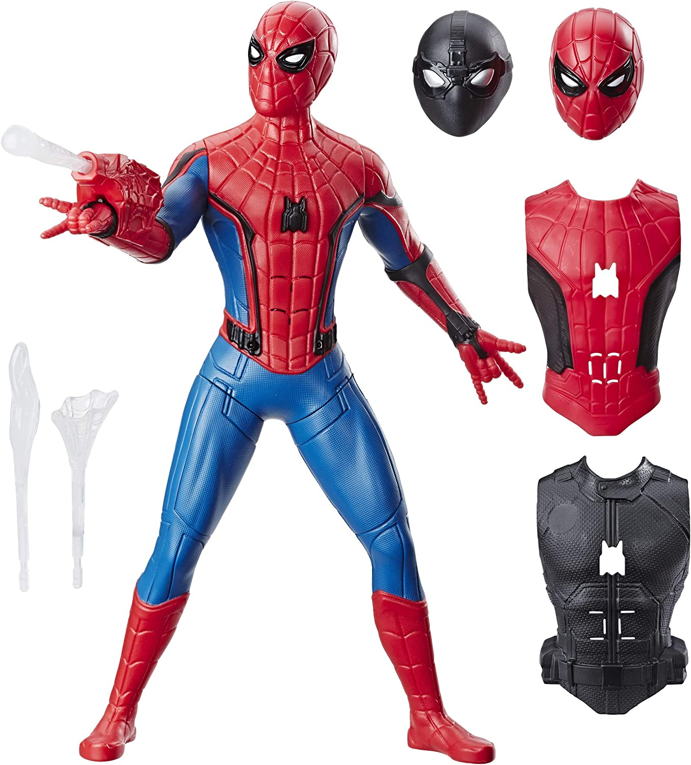Spider-Man: Far from Home Deluxe 13-Inch-Scale Web Gear Action Figure with Sound FX, Suit Upgrades, and Web Blaster Accessory