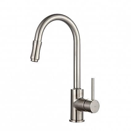 Kraus KPF-1622SN Single Lever Pull Down Kitchen Faucet Satin Nickel ...