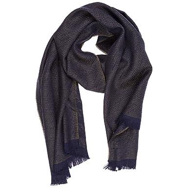 Emporio Armani écharpe homme en laine blu  Amazon.fr  Vêtements et ... a0ae4f76528