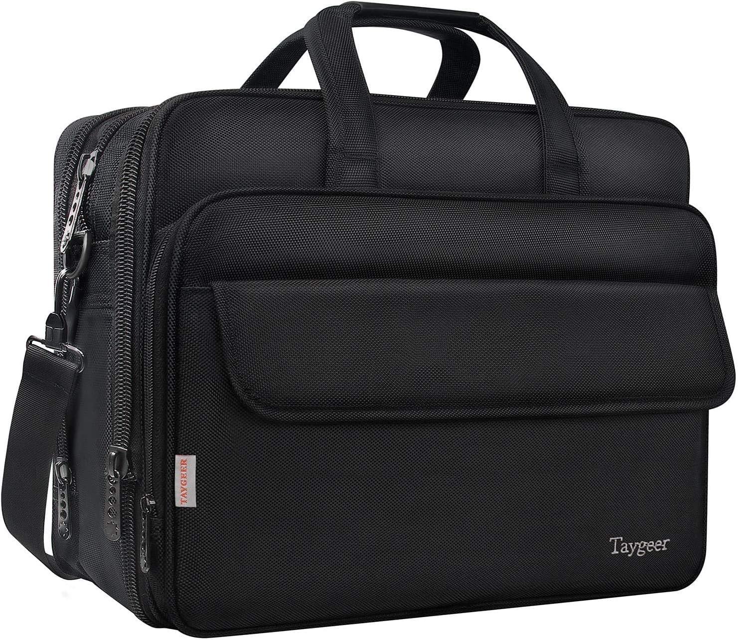 Taygeer - Bolso para ordenador portátil de 17 pulgadas,bolsa de mensajero expansible para computadora,bolso de hombro para oficina de viaje resistente al agua,maletín para llevar en la mano,negro