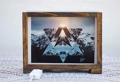 Lámpara decorativa, Lámparas originales, Cajas de Luz, light box, lamparas, wood, paisajes abstractos, picos de europa: Amazon.es: Handmade
