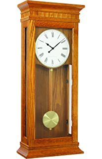 extra large light oak pendulum wall clock dual westminster chime