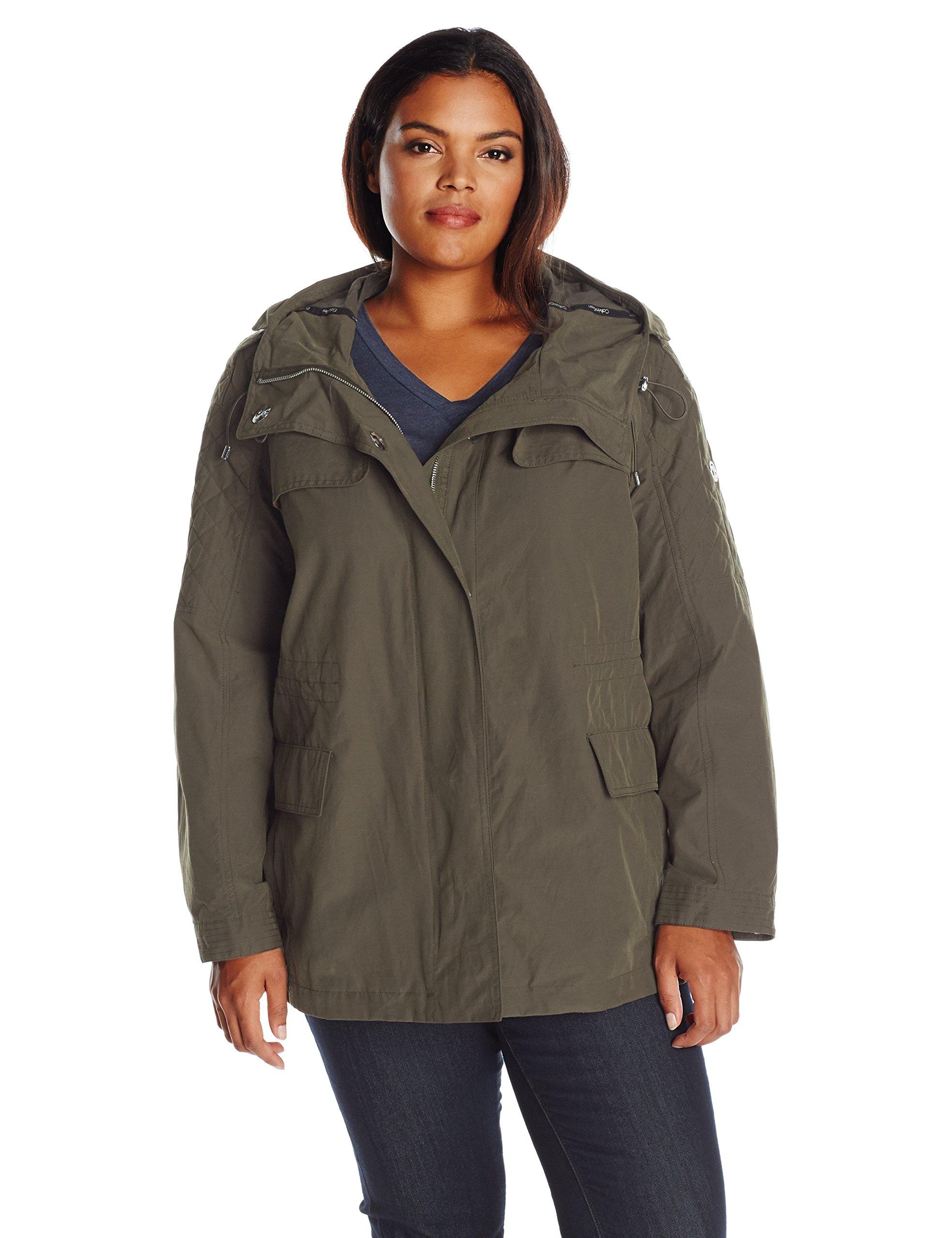 Calvin Klein Women's Plus Size Rain Anorak Cotton Jacket, IVY, 2X