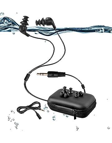 100% Impermeable natación Auriculares (Auriculares) -Short Cable, con 3 Tipo Auriculares