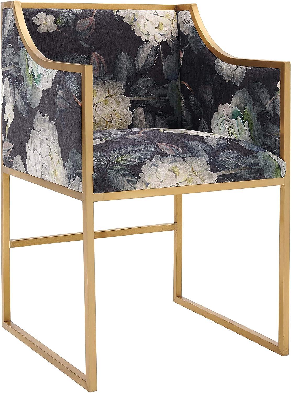 "TOV Furniture Atara Mid Century Modern Velvet Upholstered Living Room Accent Chair, 22"", Floral"