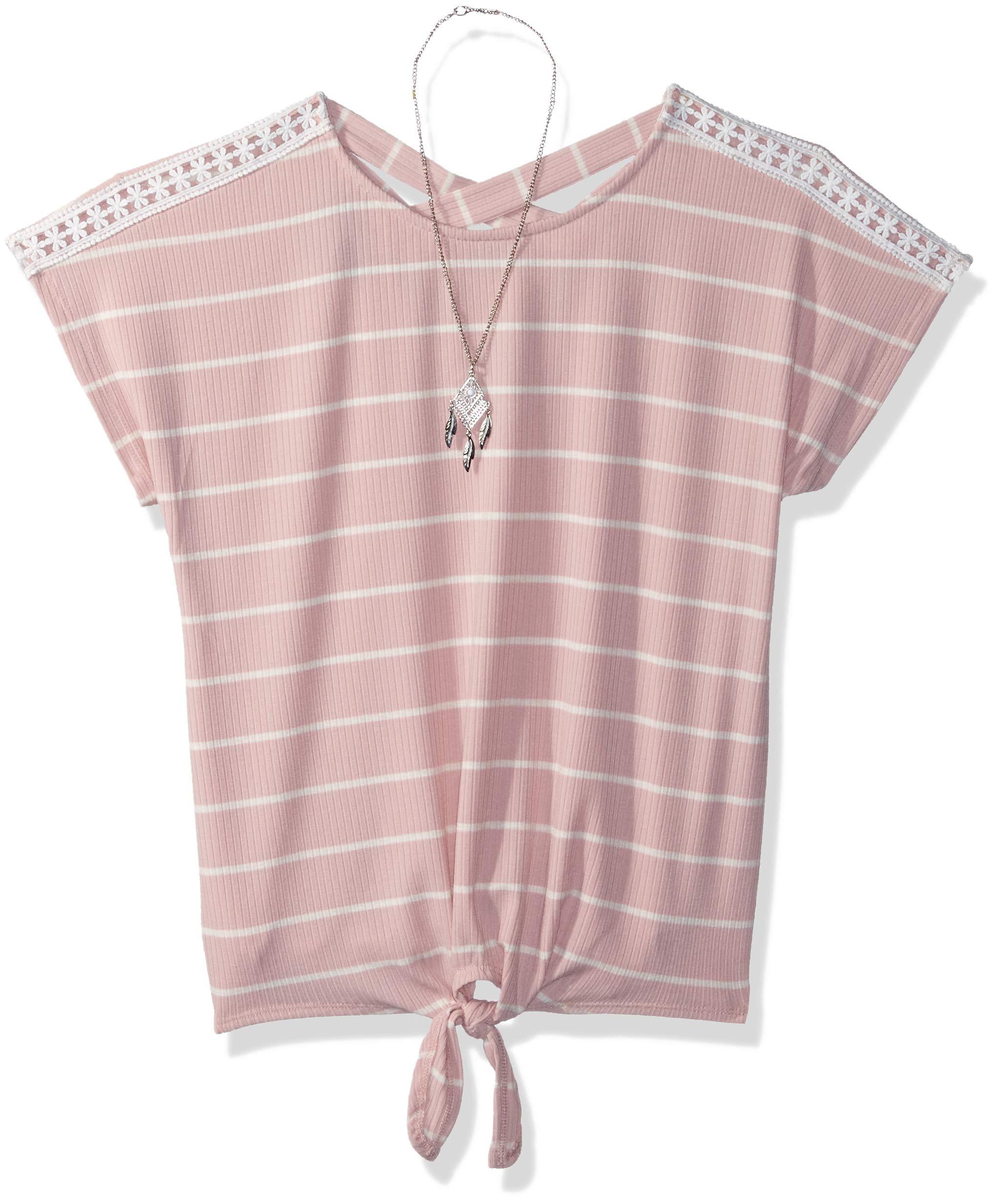 Amy Byer Girls' Big Short Sleeve Tie-Front Top, Boho Rose, M