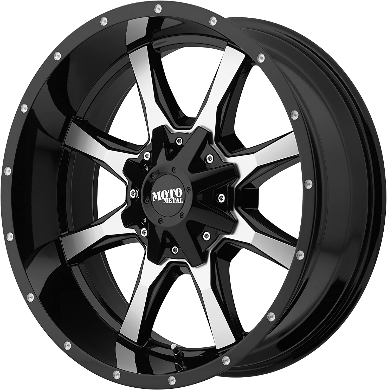 18x9//8x165.1mm, +18mm offset Moto Metal MO970 Gloss Black Wheel Machined with Milled Accents