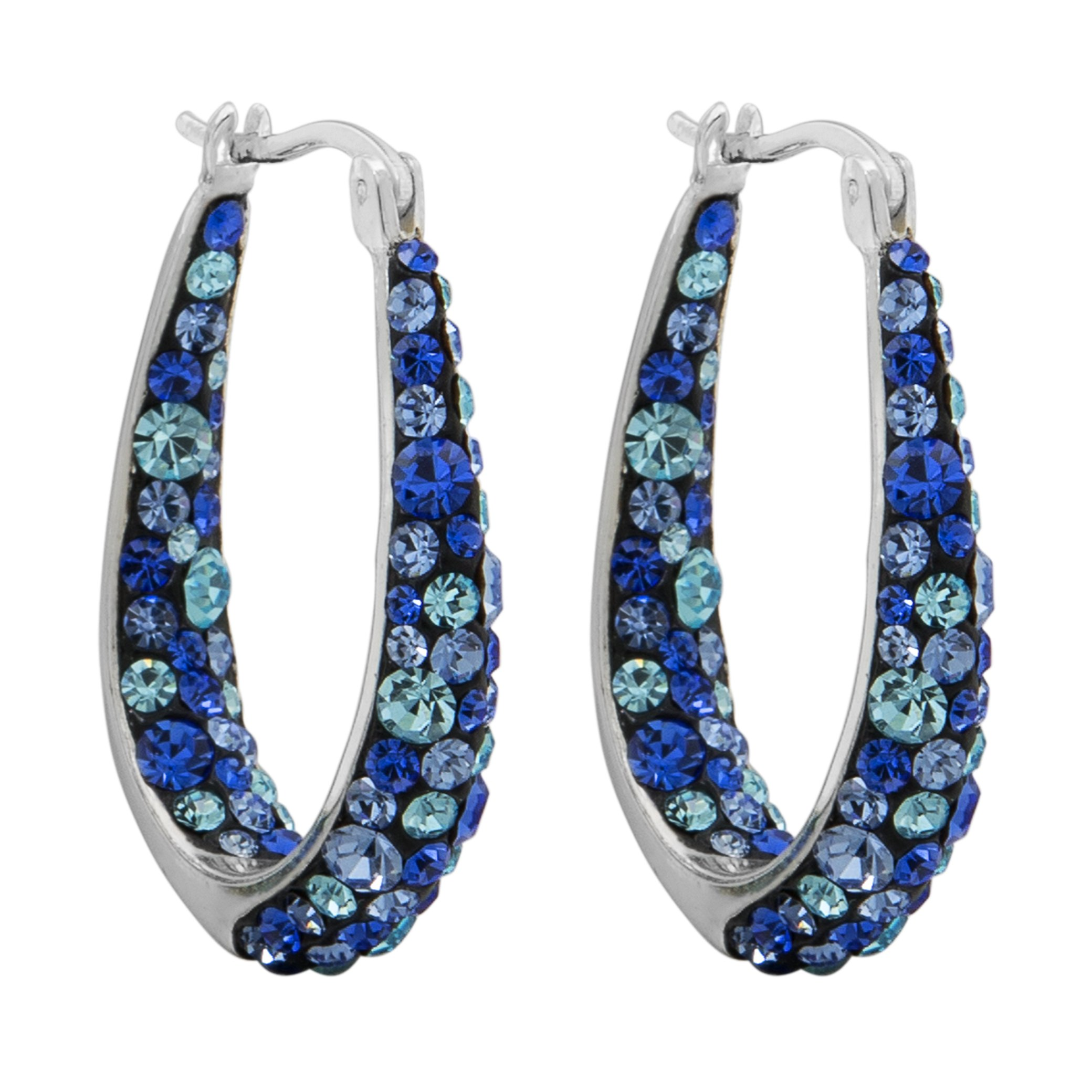 Crystalogy Silver Plated Multi Blue Crystal Inside Out Oval Shape Hoop Earrings, 1.2 Inch