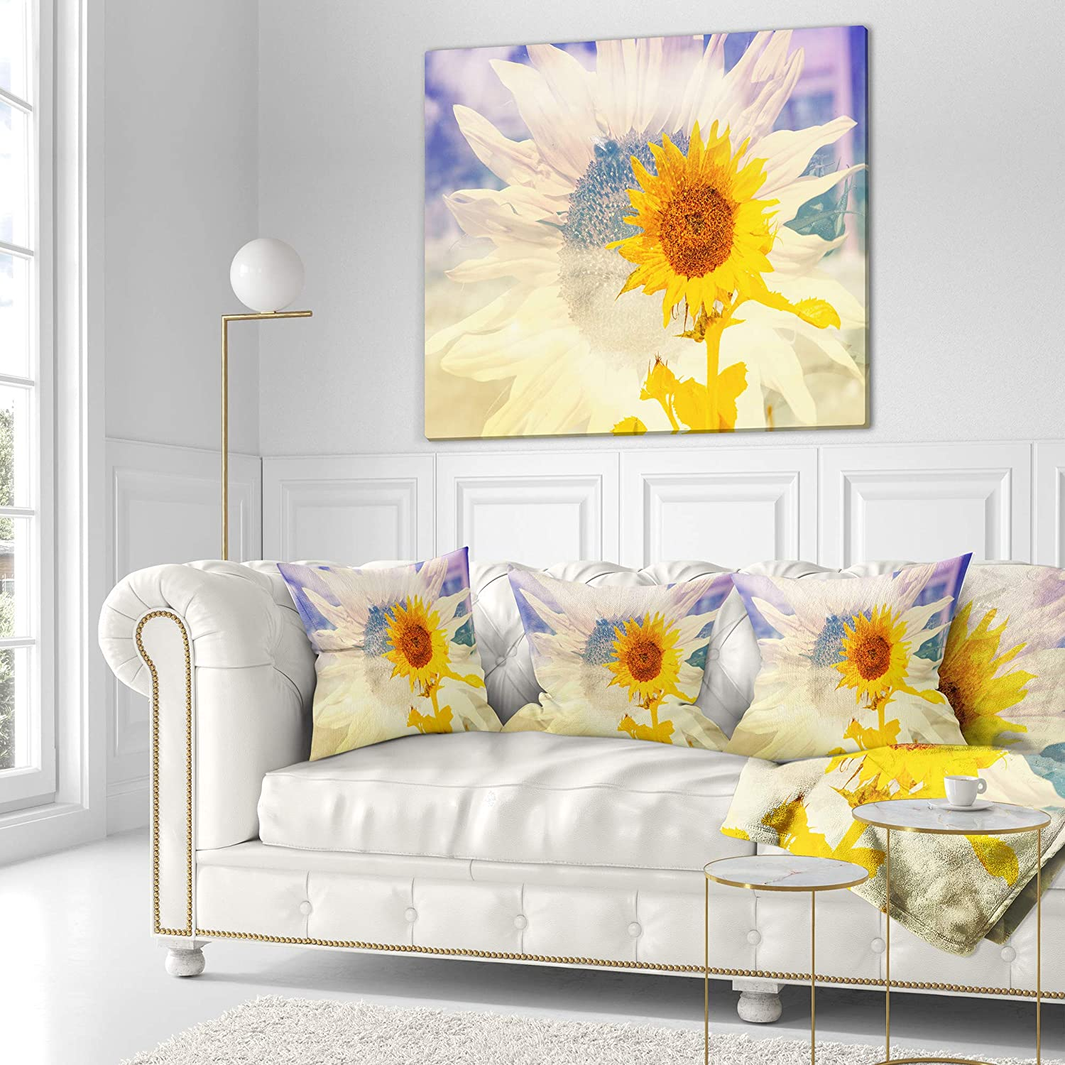 18 in in Designart CU14456-18-18 Double Exposure Yellow Sunflowers Floral Cushion Cover for Living Room Sofa Throw Pillow Insert Printed On Both Side x 18 in
