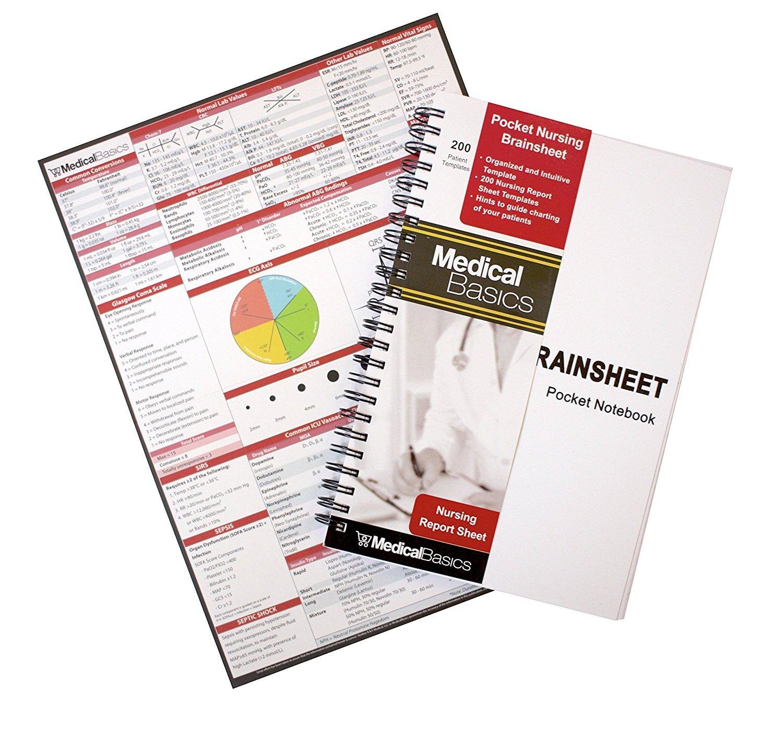 Pocket Nurse Report Sheet Notebook - Brain Sheet Template for MedSurg Nurses and CNA by Medical Basics (Image #1)