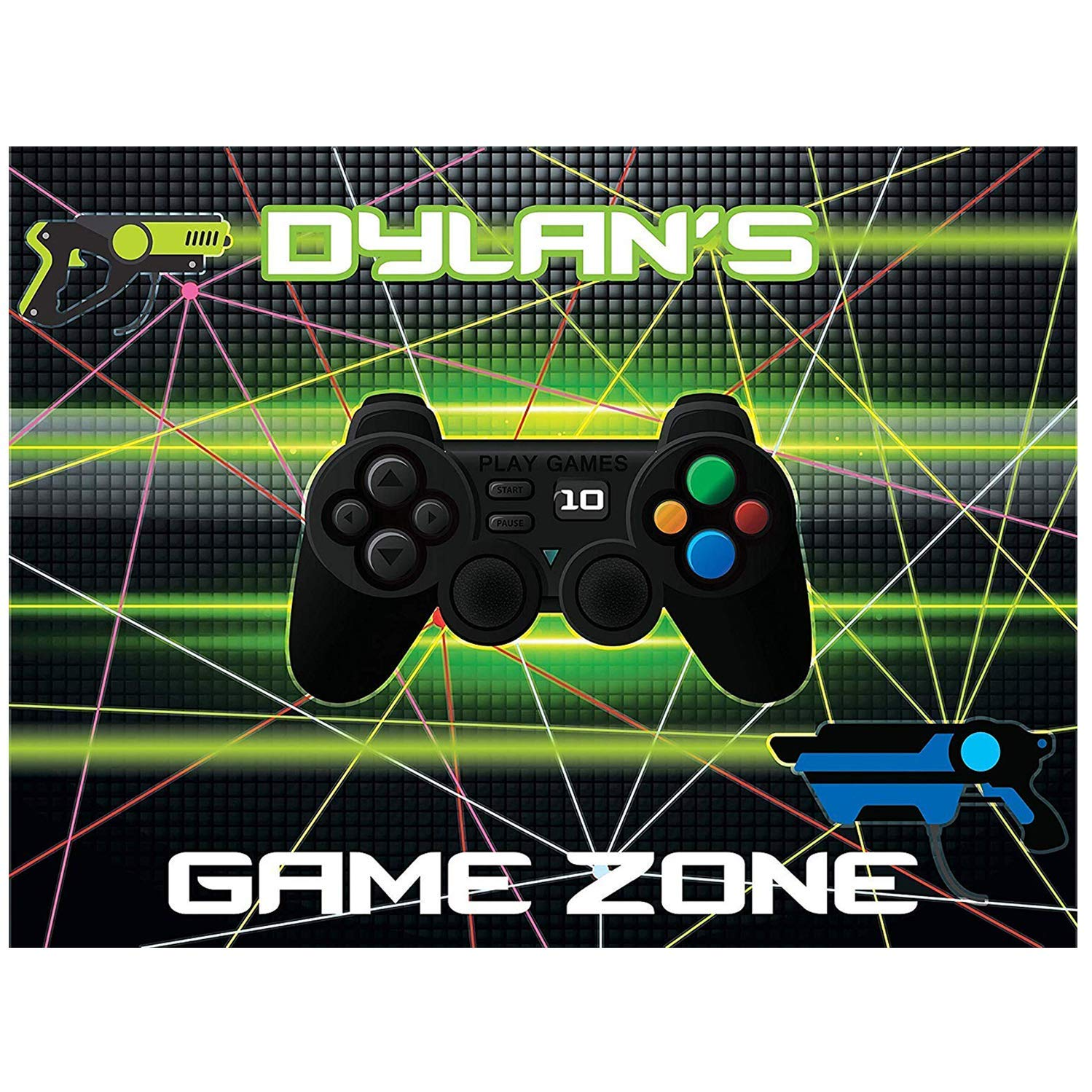 Video Game Banner Laser Gun Party Poster Size 24x18, 36x24, 48x24 and 48x36 handmade party supplies Personalized Game Truck, Game Controller, Birthday Custom Banner, Video Game Wall Decor