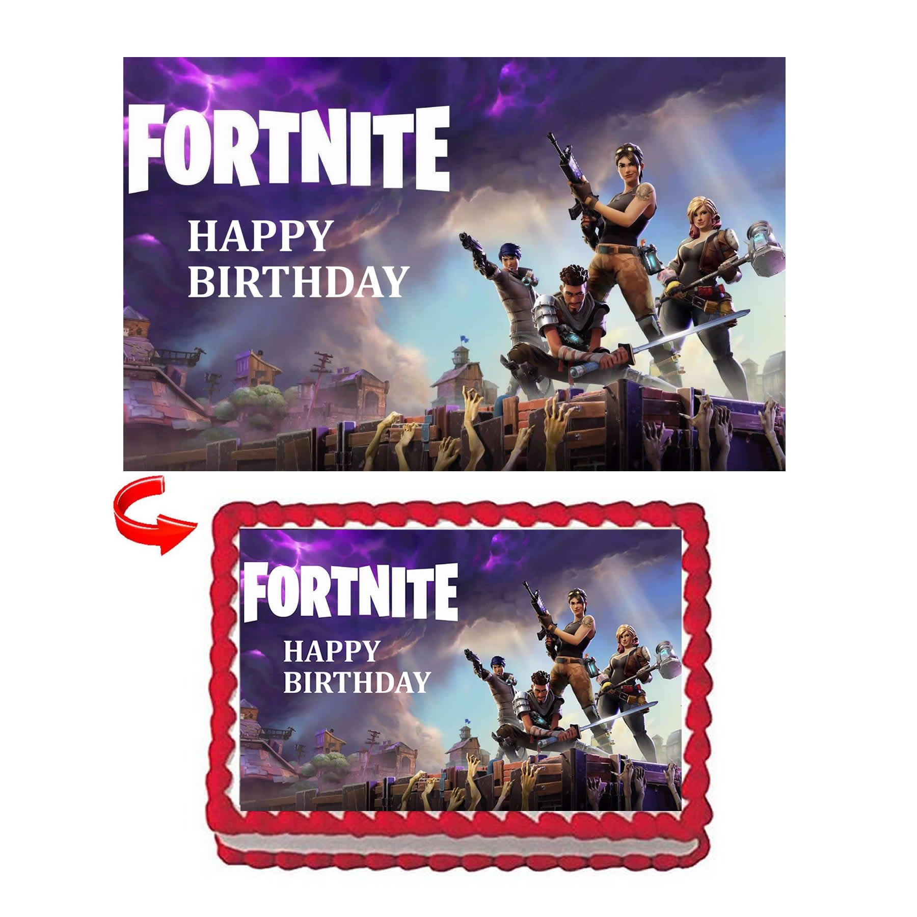 GEORLD Fortnite Battle Edible Image Cake Topper 1/4 Sheet Birthday Party Decoration,NO NAME Printed