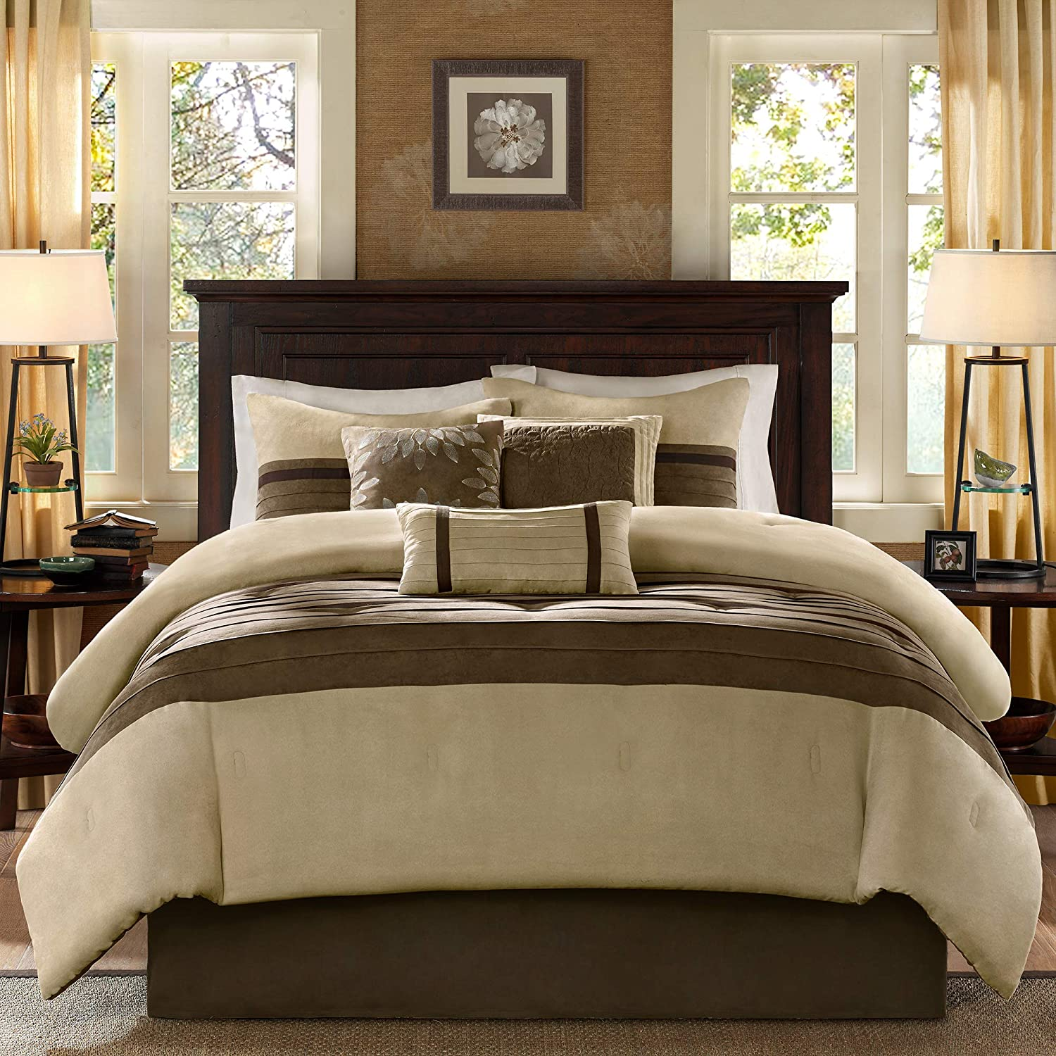 Madison Park - Palmer 7 Piece Comforter Set - Natural - Queen - Pieced Microsuede - Includes 1 Comforter, 3 Decorative Pillows, 1 Bed Skirt, 2 Shams: Home & Kitchen