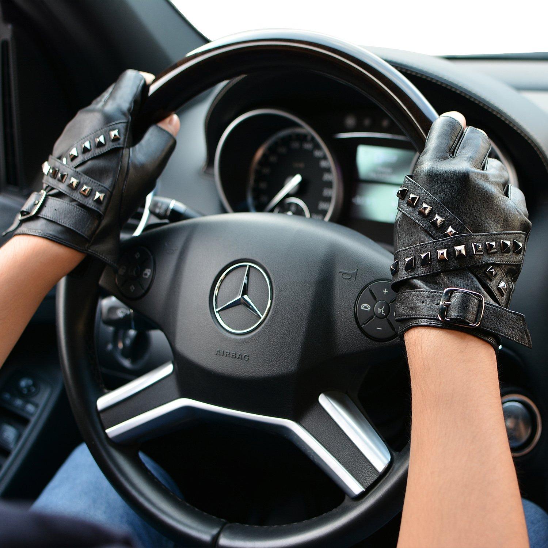 Unlined Half Finger Driving Gloves for Drives Zipper//Strap Summer Motorcycling Gloves Brown Gray Dress Gloves Brand Gift Box Package FIORETTO Mens Black Leather Fingerless Gloves