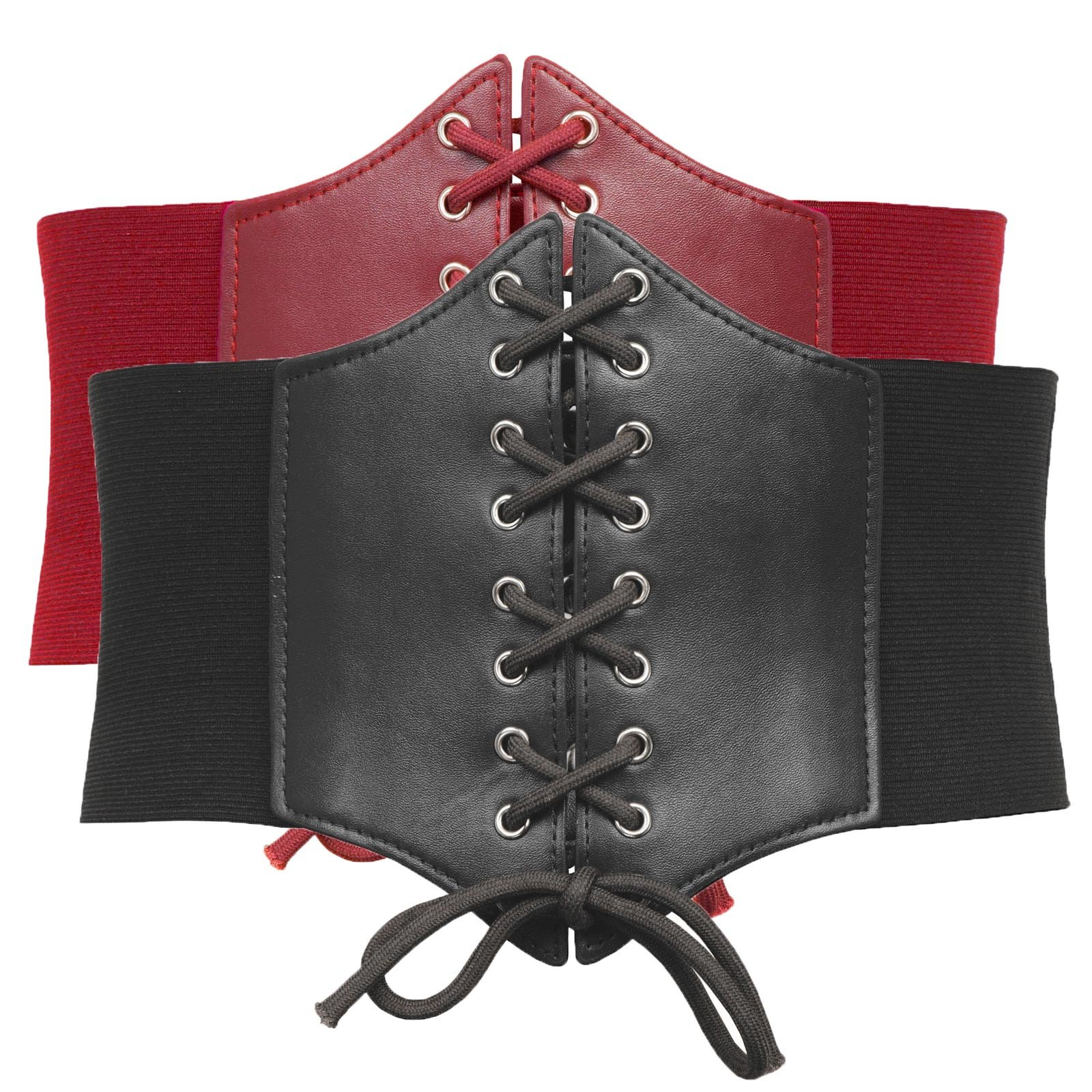 Pack of 2 Steampunk Dressing Belts (3XL, Black+Red)