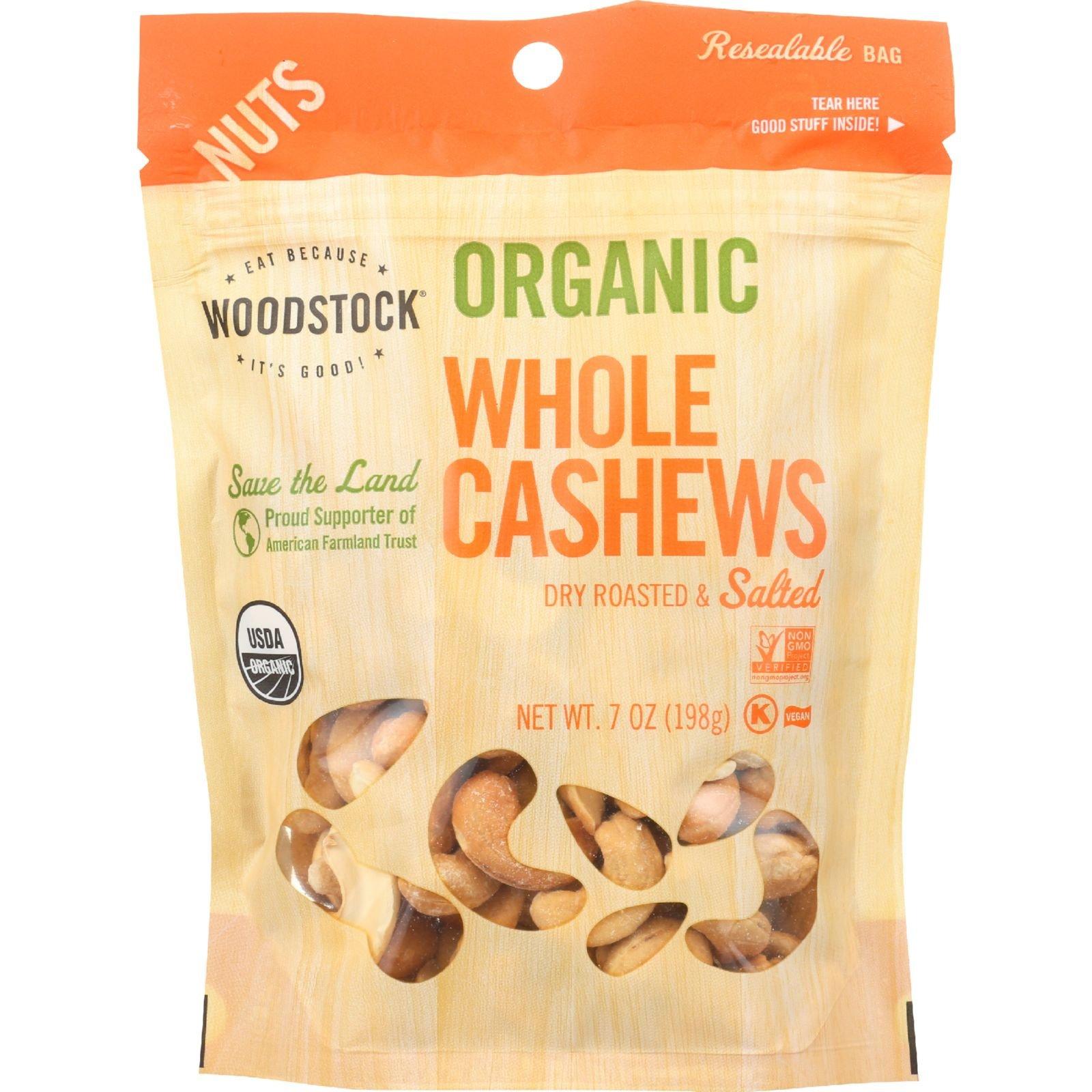 Woodstock Nuts - Organic - Cashews - Whole - Large - Dry Roasted - Salted - 7 oz - case of 8
