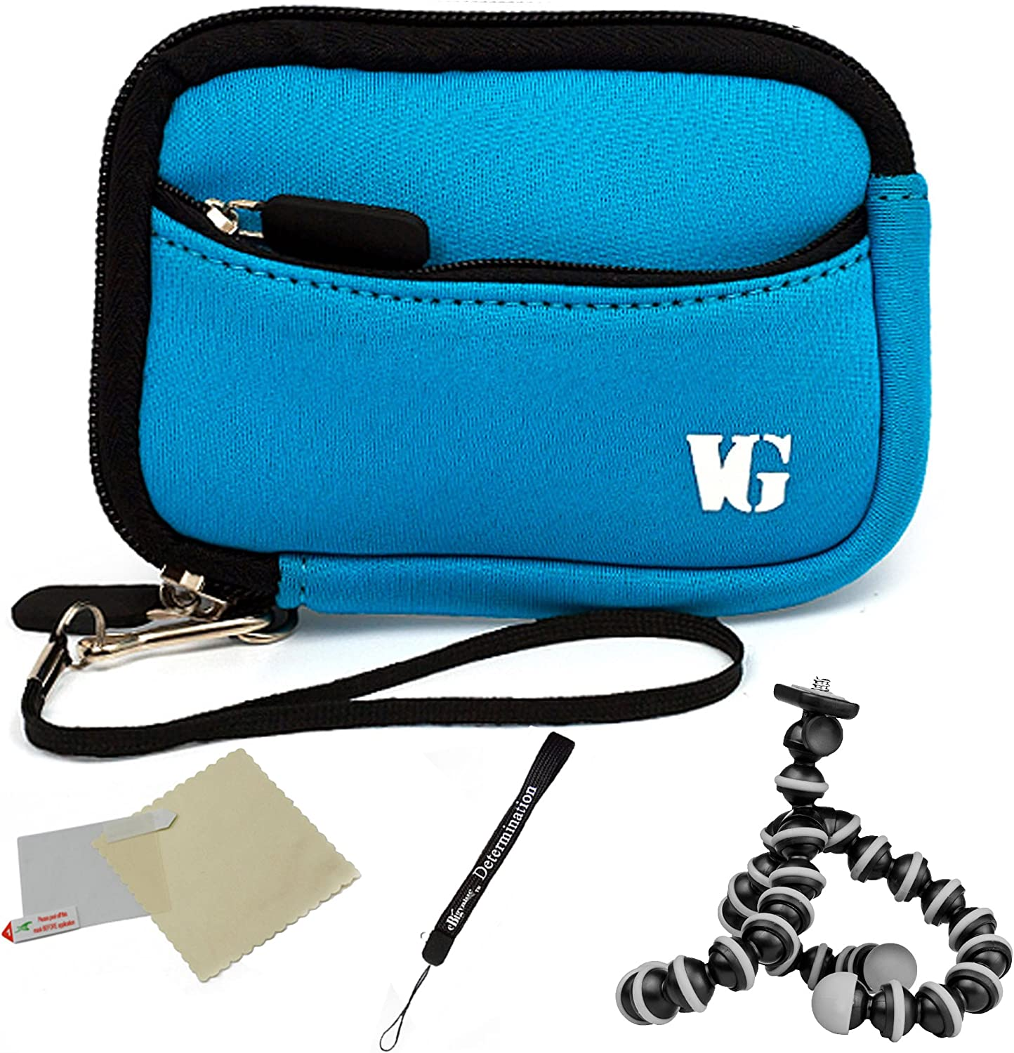 Protective Durable Neoprene Mini Glove Pouch for Nikon Coolpix S Compact Cameras and Screen Protector and Mini Tripod Baby Blue