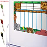 CKB Ltd® Magnetic REWARD CHART Jungle Animals FRIDGE BOARD Engaging 7 Day Colourful Tick List For Refrigerators / Space for up to 3 Children / Complete With 3 Different Coloured Marker Pens and Wiper Lid Ends / Reward Visible / Fully Flexible as Parent Decides on the Activity or Chore Based on a Child's Age and Ability/ A3 Dry Wipe Magnet Board Planner Behaviour Charts / Ideal for Teaching Children Good Practices and Rewarding Their Efforts