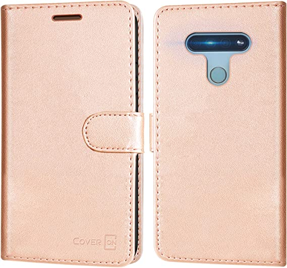 Amazon Com Coveron Wallet Pouch For Lg K51 Case Lg Reflect Case Rfid Blocking Flip Folio Stand Pu Leather Phone Cover Rose Gold