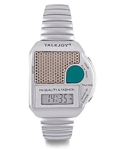 Reloj de pulsera profesional con correa de metal, plateado, despertador para ancianos, indica
