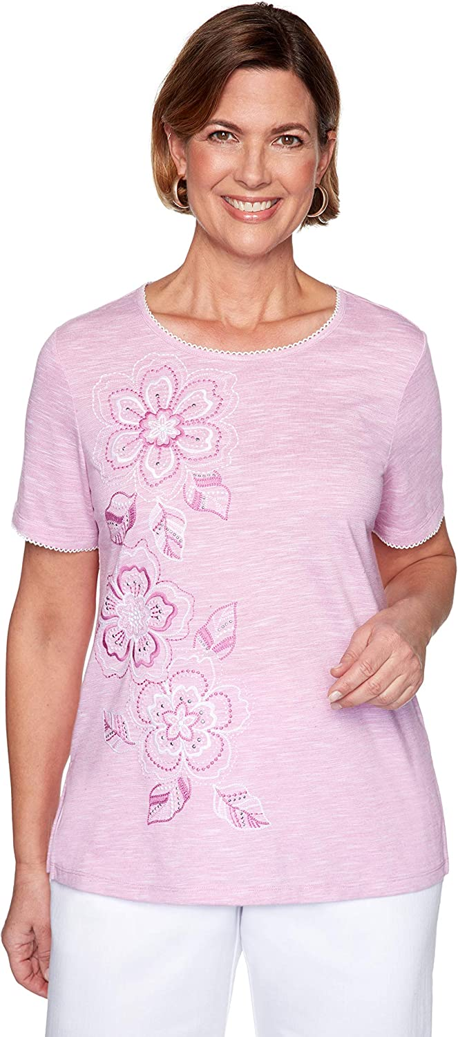 Alfred Dunner Womens Asymmetrical Embroidered Flowers Top
