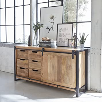 Made In Meubles Buffet Industriel Porte Coulissante Manguier 6