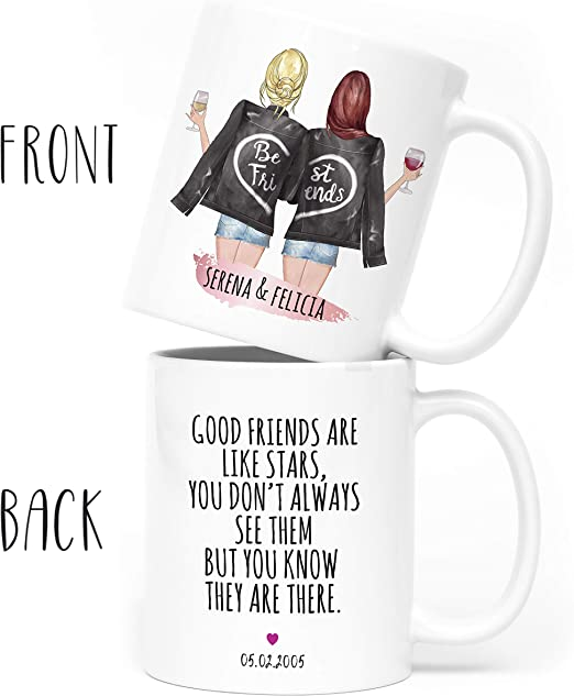 Amazon Com Custom Best Friend Coffee Mug For Women Long Distance Friendship Choose Hair Skin Color Personalized Cup W Names For Besties Bff Good Friends Birthday Moving Away Galentines