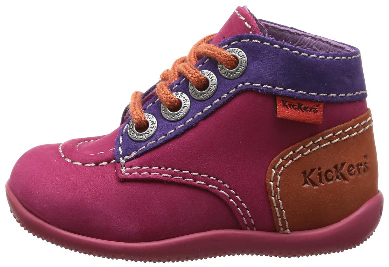 Kickers Bonbon - Zapatos primeros pasos de cuero para niña Rosa Rose (Fuchsia/Violet/Orange) 22 6E59ZkWLyr