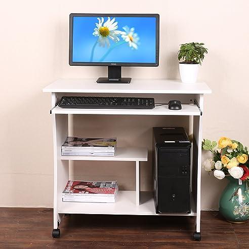 Mymotto Kleine Holztisch Computertisch Rollbar Für Zuhause Büro  Arbeitsstation Mit Tastatur Regal (Weiß)