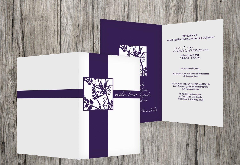 Tarjeta de luto florales cuadrado, dunklesLavendelLila, 90 Karten