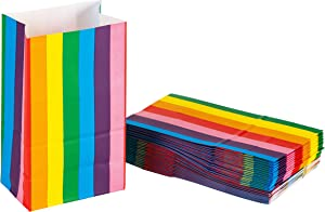 Party Treat Bags - 36-Pack Gift Bags, Rainbow Party Supplies, Paper Favor Bags, Recyclable Goodie Bags for Kids, Rainbow Stripes Design, 5.2 x 8.7 x 3.3 Inches
