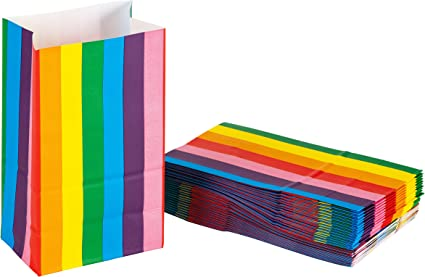 35 Rainbow Striped Childrens Kids Food Meal Box Birthday Party Bag Gift Boxes