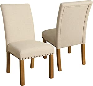 HomePop Parsons Classic Dining Chair with Nailhead Trim, Set of 2, Tan