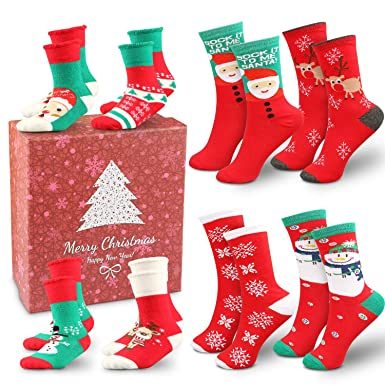 45bb502107 Image Unavailable. Image not available for. Color  8 Pairs Christmas Socks  Set