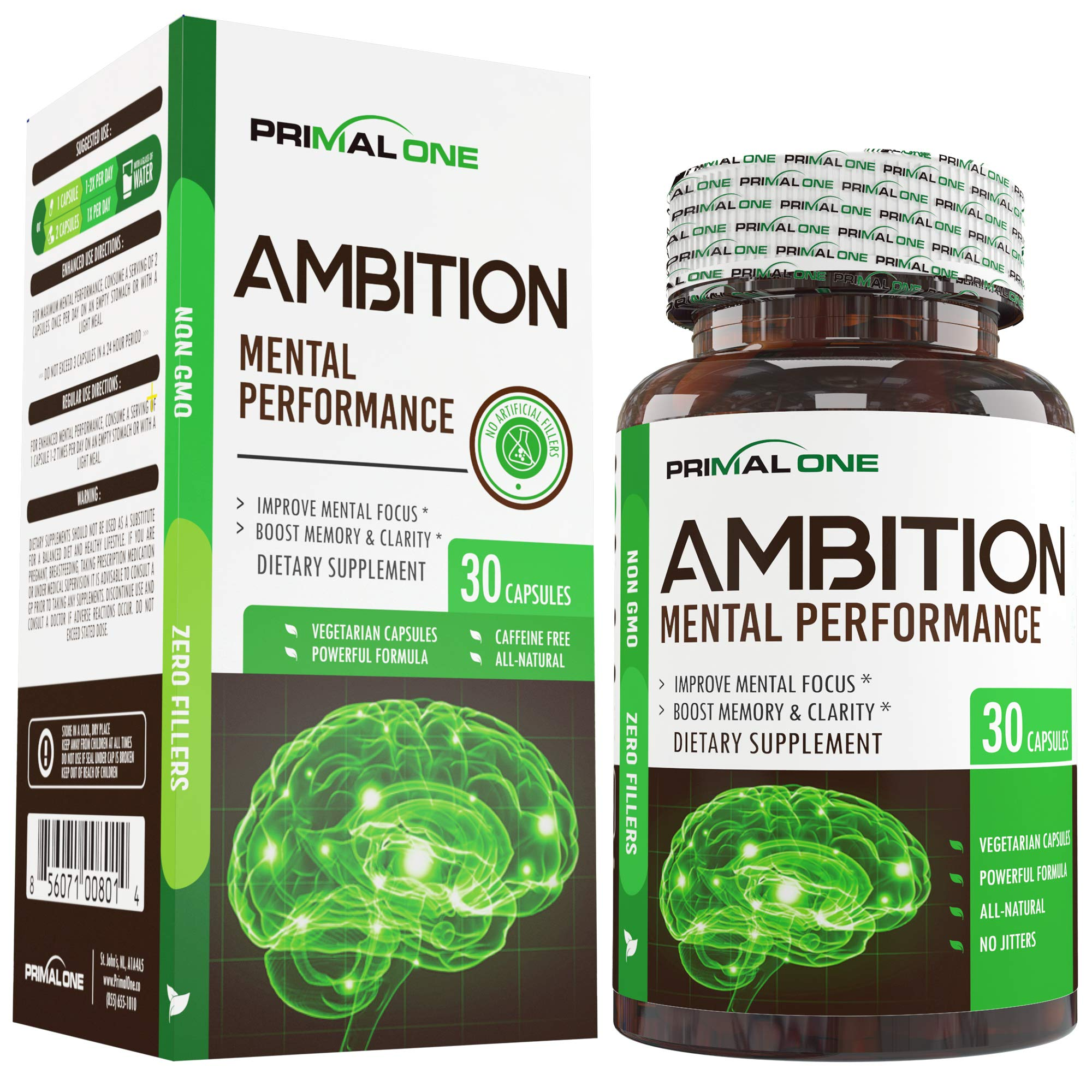 Ambition Nootropic Brain Booster Supplement - Enhance Focus, Boost Memory & Clarity - Achieve Peak Mental Performance w/CDP Choline, Neurofactor, More - 30 Natural Veggie Pills by Primal One (Image #1)