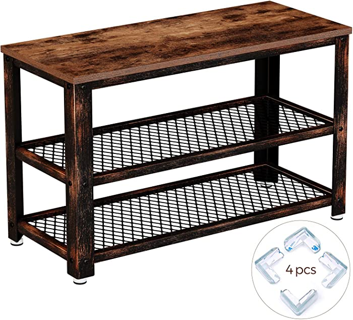 Rolanstar Rustic 3-Tier Shoe Bench, Wood Look Accent Entryway Shoe Rack with Corner Protectors, Storage Bench with Retro Metal Frame, for Living Room, Hallway SH001-B
