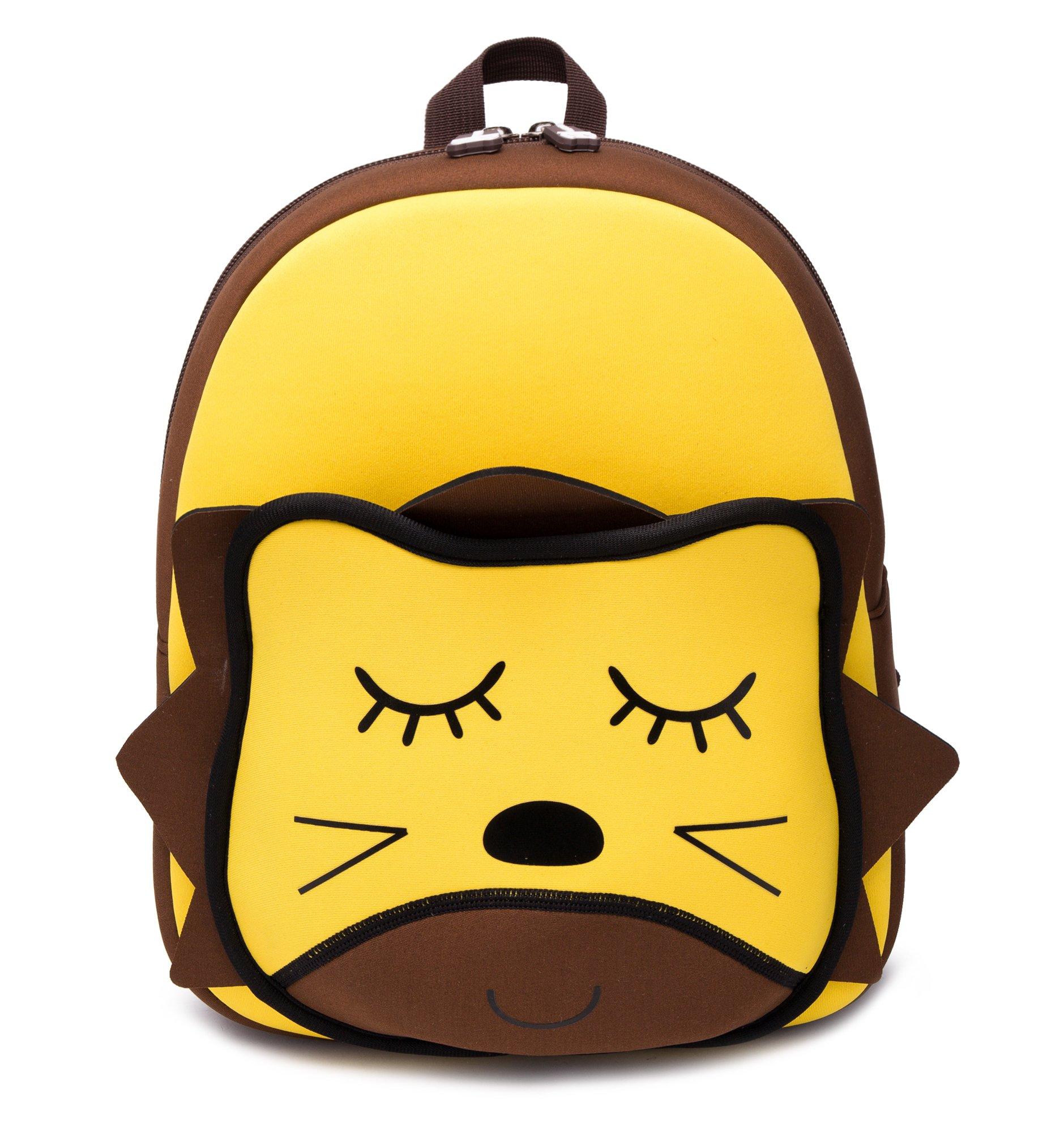 Cute Kids Backpack with Safety Harness Leash, 3D Lion Cartoon Neoprene Waterproof Toddler Bag Yellow