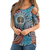 Amober Womens Summer T Shirts Short Sleeve Tunic Strappy Cold Shoulder Tops