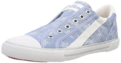s.Oliver Mädchen 54107 Slip on Sneaker, Blau (Denim Star), 38 EU