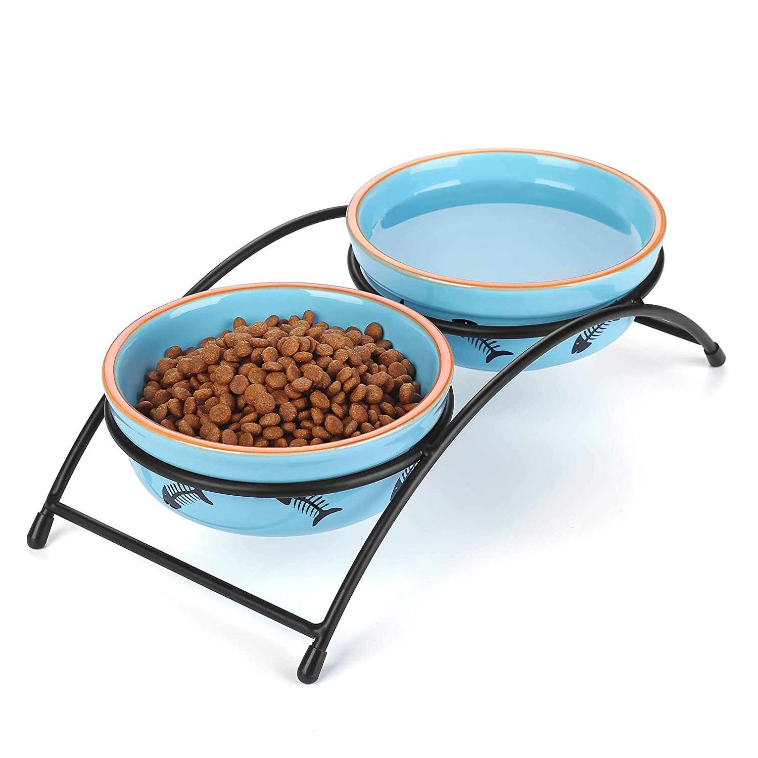 Y YHY Ceramic Raised Pet Cat Bowls, 12 Ounces Elevated Food or Water Bowls, Double Cat Dishes, Gift for Cat, Fish Bone Design, Blue
