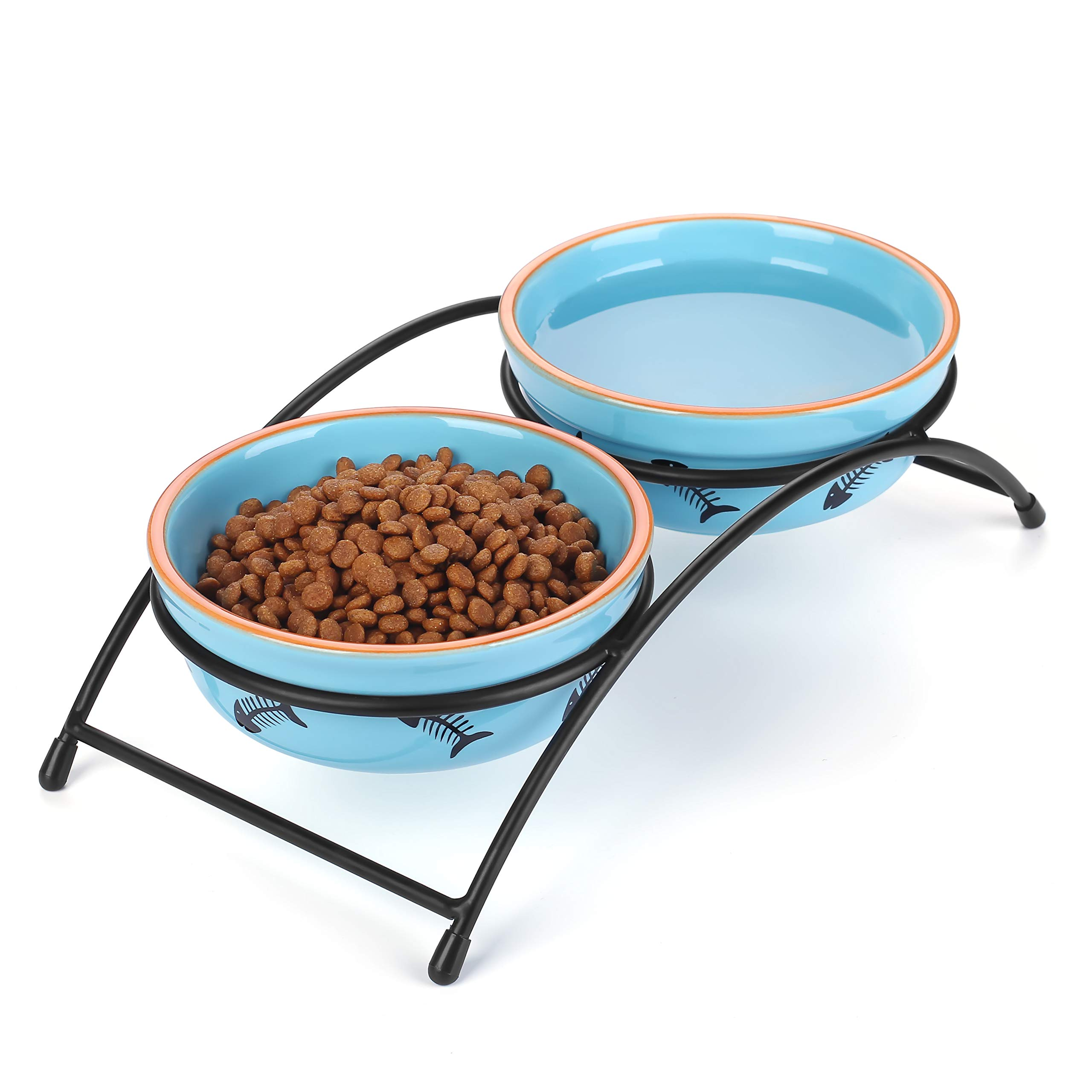 Y YHY Ceramic Raised Pet Cat Bowls, 12 Ounces Elevated Food or Water Bowls, Double Cat Dishes, Gift for Cat, Fish Bone Design, Blue by Y YHY