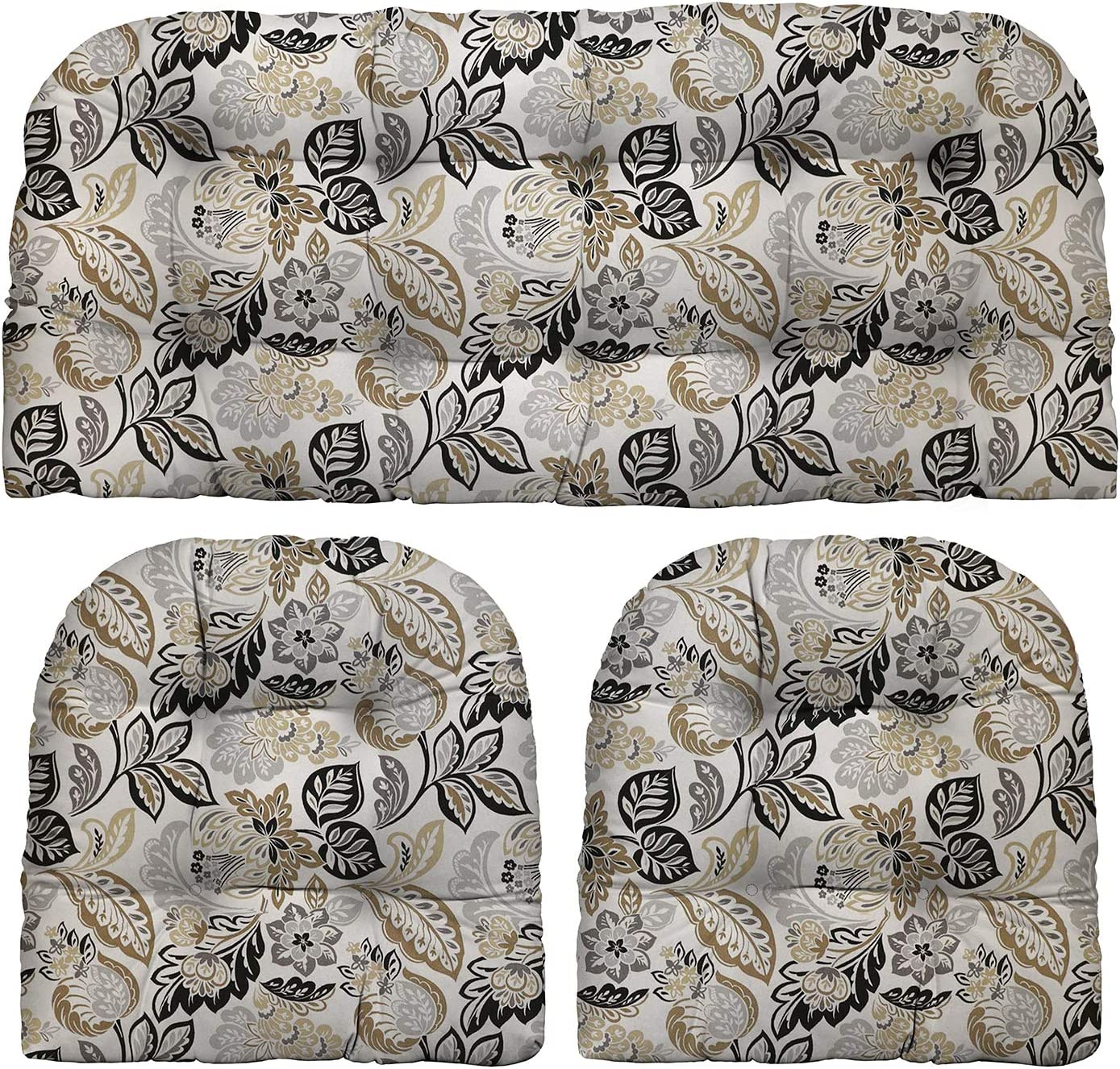 """RSH Décor Indoor Outdoor Grey Brown Tan Prints - 3 Pc Tufted Wicker Cushion Set 1 Loveseat & 2 U-Shape-Choose Color & Size (Dailey Pewter Grey Black Tan Floral Scroll, LS 41""""x19"""" US 19""""x19"""")"""