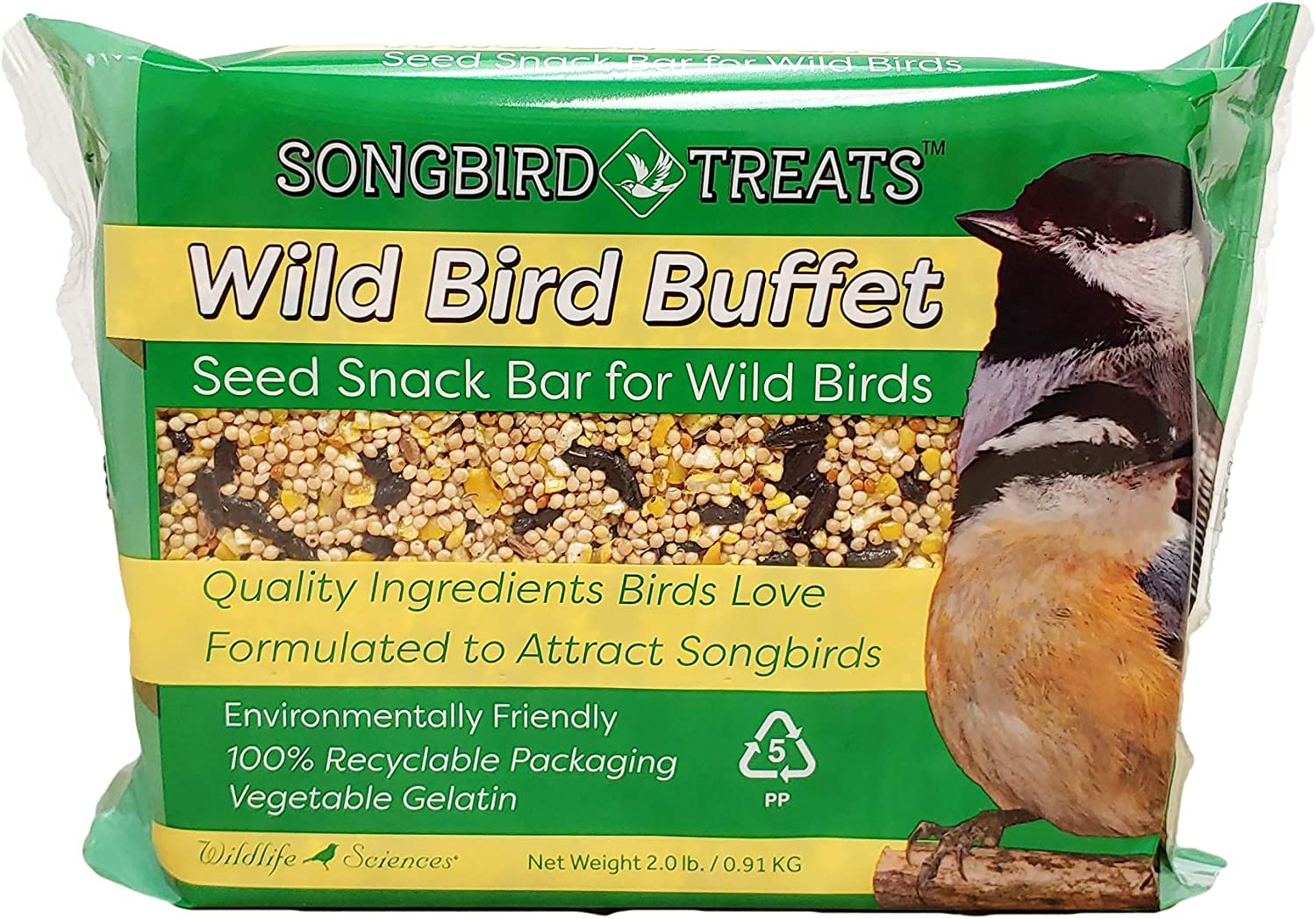 Songbird Treats Seed Cakes Large Seed Bars | 1.5-2 lb Large Bird Seed Cakes for Wild Birds