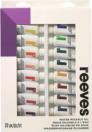 Reeves – Pintura al óleo diluible en Agua (Pintura, Multicolor, 22 ml, Pack de 20: Amazon.es: Hogar