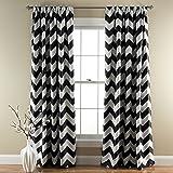 Lush Decor Chevron Room Darkening Window Curtain Panel, 84 inch x 52 inch, Black, Set of 2