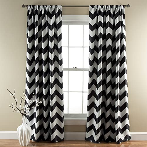 Superbe Lush Decor Chevron Room Darkening Window Curtain Panel, 84 Inch X 52 Inch,  Black