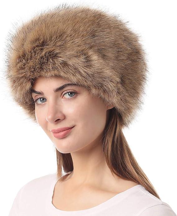 La Carrie Damen Ushanka M/ütze aus Kunstfell verstellbar Winter Trapper Russische Sowjetm/ütze f/ür Herren Skifahren